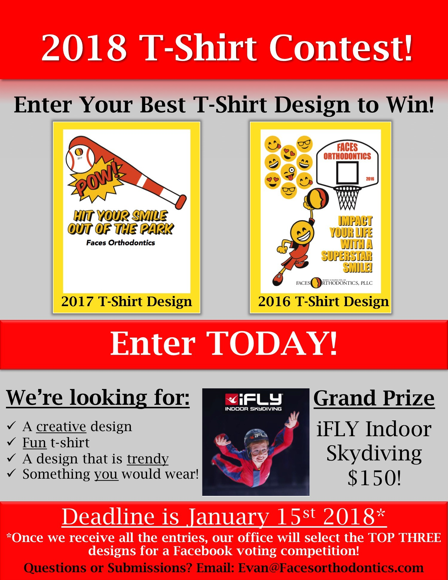 faces orthodontics t-shirt contest